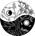 Yin Yang symbols with tree representing the seasons